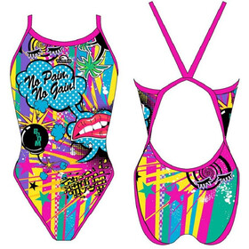 Turbo Crazy Comic Traje de Baño Mujer, royal